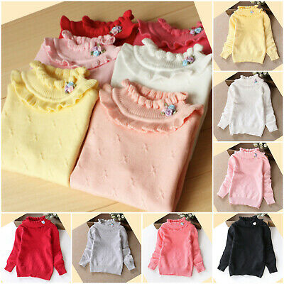 Girls Top Autumn Long Sleeve Sweater Winter School Casual Thick Warm Age 2-10 yr