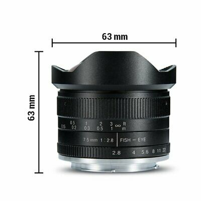7artisans 7.5mm F2.8 APS-C Wide Angle Fisheye Fixed Lens For Sony E Mount Camera