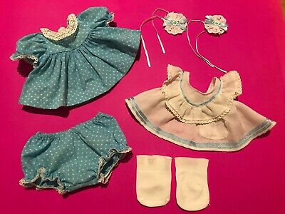 My Child Doll Heart Pinny Outfit, Replica Barrettes & Original Socks Vgc