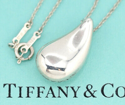 """TIFFANY&Co Large Teardrop Necklace 23"""" Peretti Sterling Silver 925"""