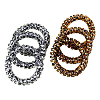 5x Leopard Elastic Telephone Wire Cord Head Ties Hair Band Rope Ponytail Rin OHQ