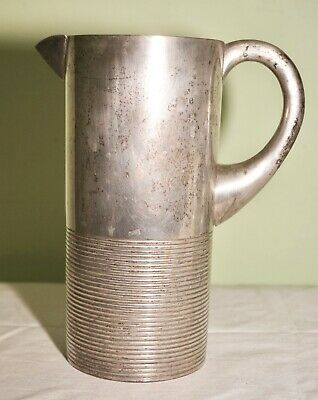 Vintage Antique Art Deco Metal Jug Machine Turned Poor Mans Silver