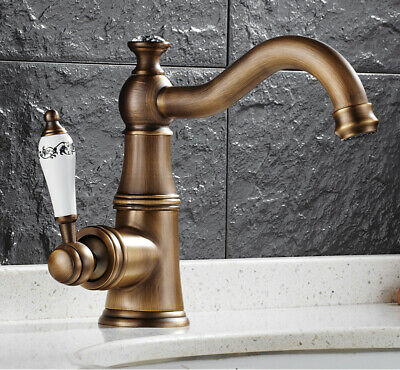Basin Faucet Brass Antique Mixer Tap White Ceramic Handle ZUS