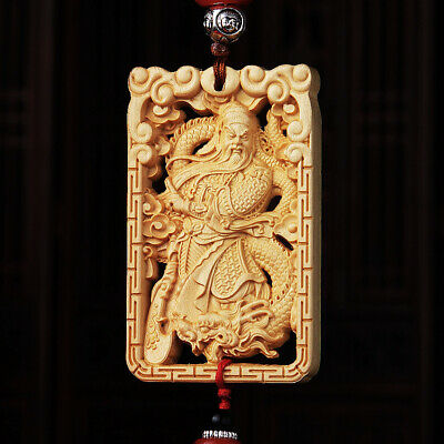 Hollow Out Wood Carving Chinese Guan Gong Dragon Amult Double Sides Car Pendant