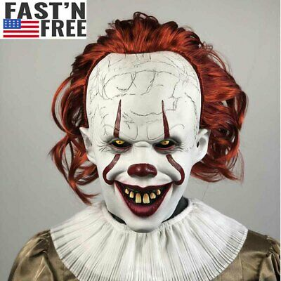 2019 Pennywise Joker Mask It Chapter Two 2 Horror Clown Halloween Scary Mask US