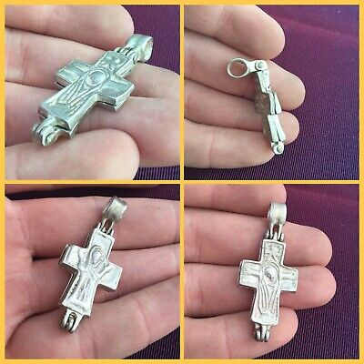 Rare ancient scarce Byzantine silver cross pendant