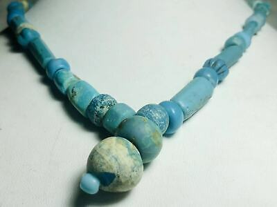 ancient authentic egyptian blue mummy beads necklace 1000+  years