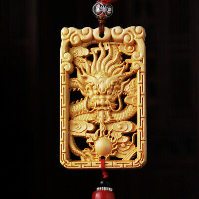 Hollow Out Wood Carved Chinese Geomancy Dragon Statue Double Sides Car Pendant