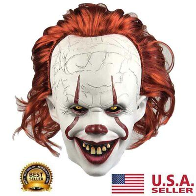 2019 Pennywise Joker Mask It Chapter Two 2 Horror Clown Halloween Scary Mask HOT