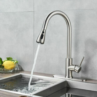 """Brushed Kitchen Sink Faucet Pull Out Sprayer Single Handle High Arc W/ 10"""" Cover"""