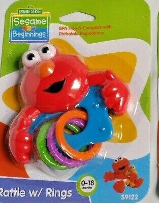 ELMO or COOKIE MONSTER RATTLE WITH RINGS  0-18M ***AUSTRALIAN STOCKIST
