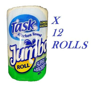 12 Rolls Task Jumbo Kitchen Roll Paper Towel White Absorbent