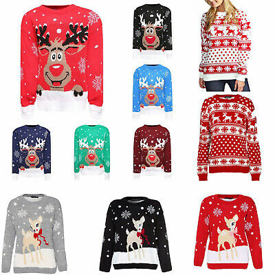 Kids Girls Boys Xmas Jumper Rudolph Reindeer Snowflakes Bambi Christmas Jumpers