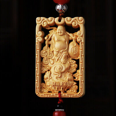 Hollow Out Wood Carved Chinese Happy Maitreya Buddha Double Sides Car Pendant