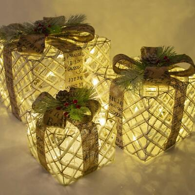 Rustic Antique Set of 3 LED Light Up Presents Under Christmas Tree Gift Box -NEW