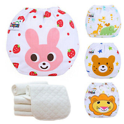 Baby Diaper Nappies Washable Cloth Adjustable Reusable  5 Diapers+ 5 INSERTS