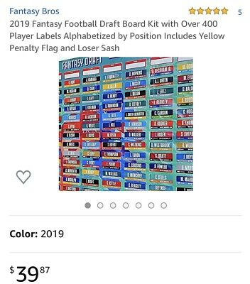 2019 Fantasy Football Draft Kit with Over 400 Player Labels alphabetized Yellow+