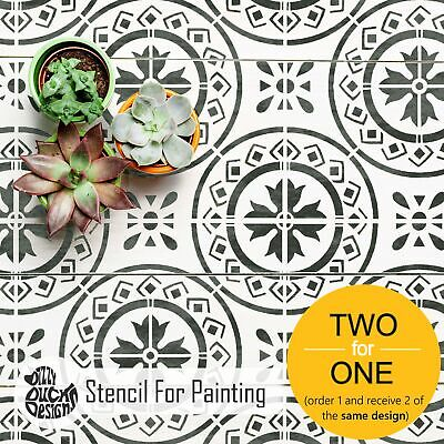 MORELLO Mediterranean Tile Stencil - Furniture Wall Floor stencil for Painting