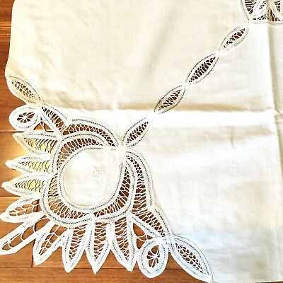"""White Tablecloth Cotton Embroidered Floral Lace Cutouts 82""""x49"""" Rectangle 12-Nap"""