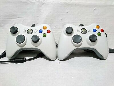 2 x Original XBOX 360 WIRED CONTROLLER Genuine Microsoft - EXCELLENT USB PC