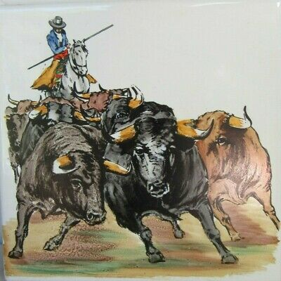 "Vtg 6"" Tile Ceramic Hand Painted Spanish Bullfighter Matador Bull Peris Onda"
