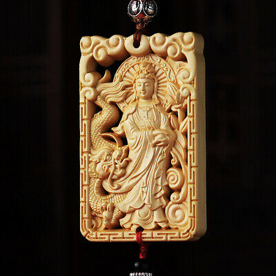 Hollow Out Wood Carved Chinese Kwan Yin Ride Dragon Double Sides Car Pendant