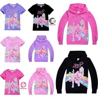 Kids Jojo Siwa 100% Cotton T shirt Girls Casual Cartoon Hoodie Tops Xmas Gift UK