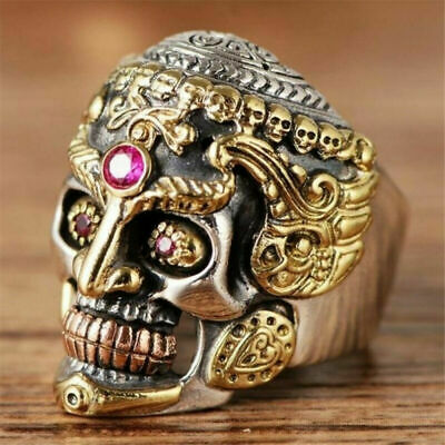 Cool Men Stainless Steel Ring Gothic Punk Skull Crystal Zircon Eye Biker Jewelry