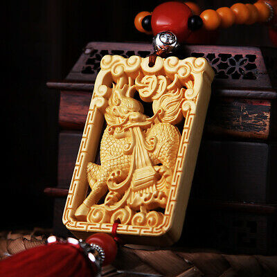 Hollow Out Wood Carving Chinese Dragon Kylin Pixiu Double Sides Car Pendant