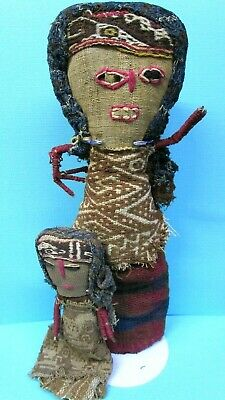 "Large Chancay Textile Burial Doll And Child 10"" & 5.5"""