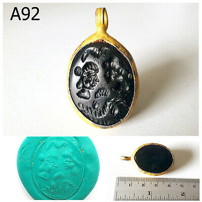Old Rare Wonderful Agate Greek King & Queen Intaglio Gold Plated Pendant #A92