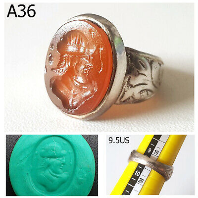 Antique Islamic Prince Persian Intaglio Carnelian REAL Silver Ring Size 9.5 #A36