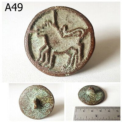 Ancient Pre Medieval Luristan Roman Bronze Stamp With LEO Lion #A49