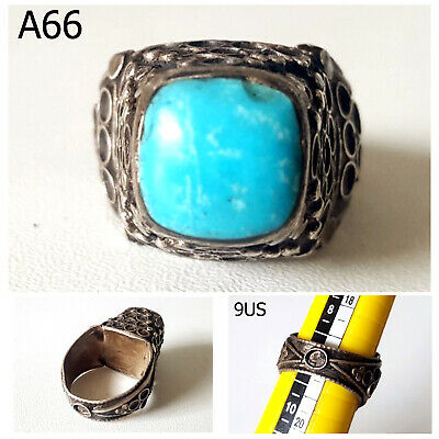 Amazing Old Persian Blue Turquoise Stone REAL Silver Ring Us Size 9 #A66