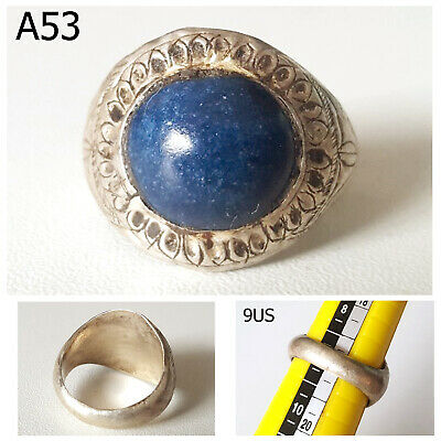 Very Old Greek Roman Lapis Lazuli REAL Silver Ring Size 9 #A53