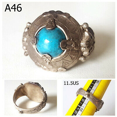 Medieval Old Blue Persian Turquoise Stone Real Silver Ornate Ring 11.5 US #A46