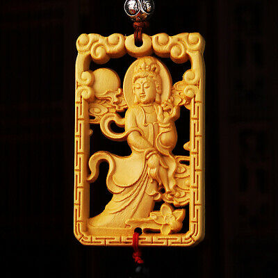 Hollow Out Wood Carving Chinese Kwan Yin Double Sides Amulet Boxwood Car Pendant