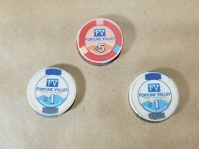 Lot of 3 Fortune Valley Casino Chips One $5, and Two $1 Central City Colorado