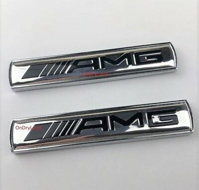 2 X MERCEDES AMG SILVER Side Wing Badge Emblem  C E A S SL SLK CLASS