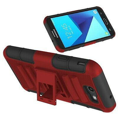 For Samsung Galaxy J7 V 2017/Sky Pro/Prime Shockproof Case With Kickstand Clip