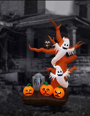 Halloween Inflatable Tree Ghost Pumpkin Tombstone Decoration Outdoor Lighted