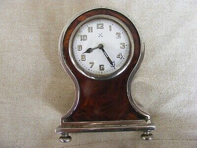FRENCH BALOON DESK/MANTLE CLOCK 1920s, BRASS/STEEL SHELL FRONT WORKING ORDER