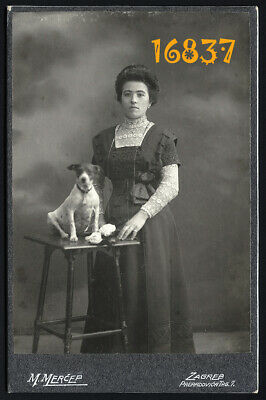 Larger size Cabinet Card, woman w dog by Mihailo Merćep Zagreb 1900's Croatia