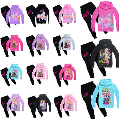 JoJo Siwa Kids Girls Hoodies Casual Cartoon Top Sweatshirt Clothes + Trousers UK