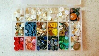 Lot - Sewing Buttons-Hundreds Of Mixed Colors And Sizes