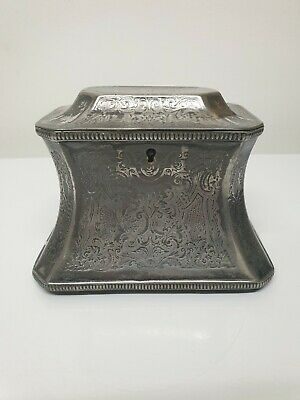 Antique Tea Caddy Victorian Silver Plated  19th century