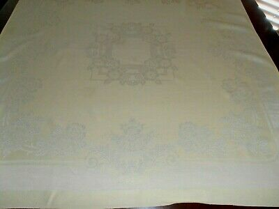 """Vintage Yellow damask bordered medallion center square 42 x 42""""  tablecloth"""