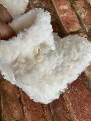 Girls Faux Fur Marks And Spencer M&S Cream Slipper Boots Uk 8 Infant New