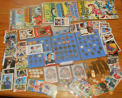Junk Drawer Lot-Coins-Misc-Silver-Wheat-Sport Cards-Rare Coins-Coin Flip Holders