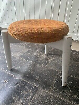 Retro Stool 3 Legs with Orange Button Seat Cover / Wood / Swedish Style